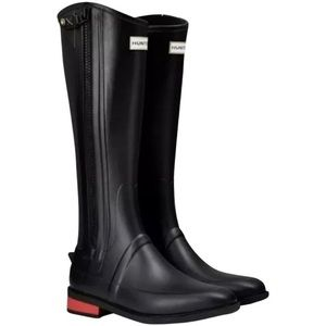 Hunter Wellesley Black Rubber Riding Boots 5